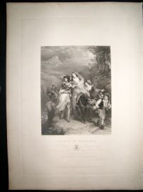 After C.L Eastlake C1840 LG Folio Antique Print. Escape of Carrara